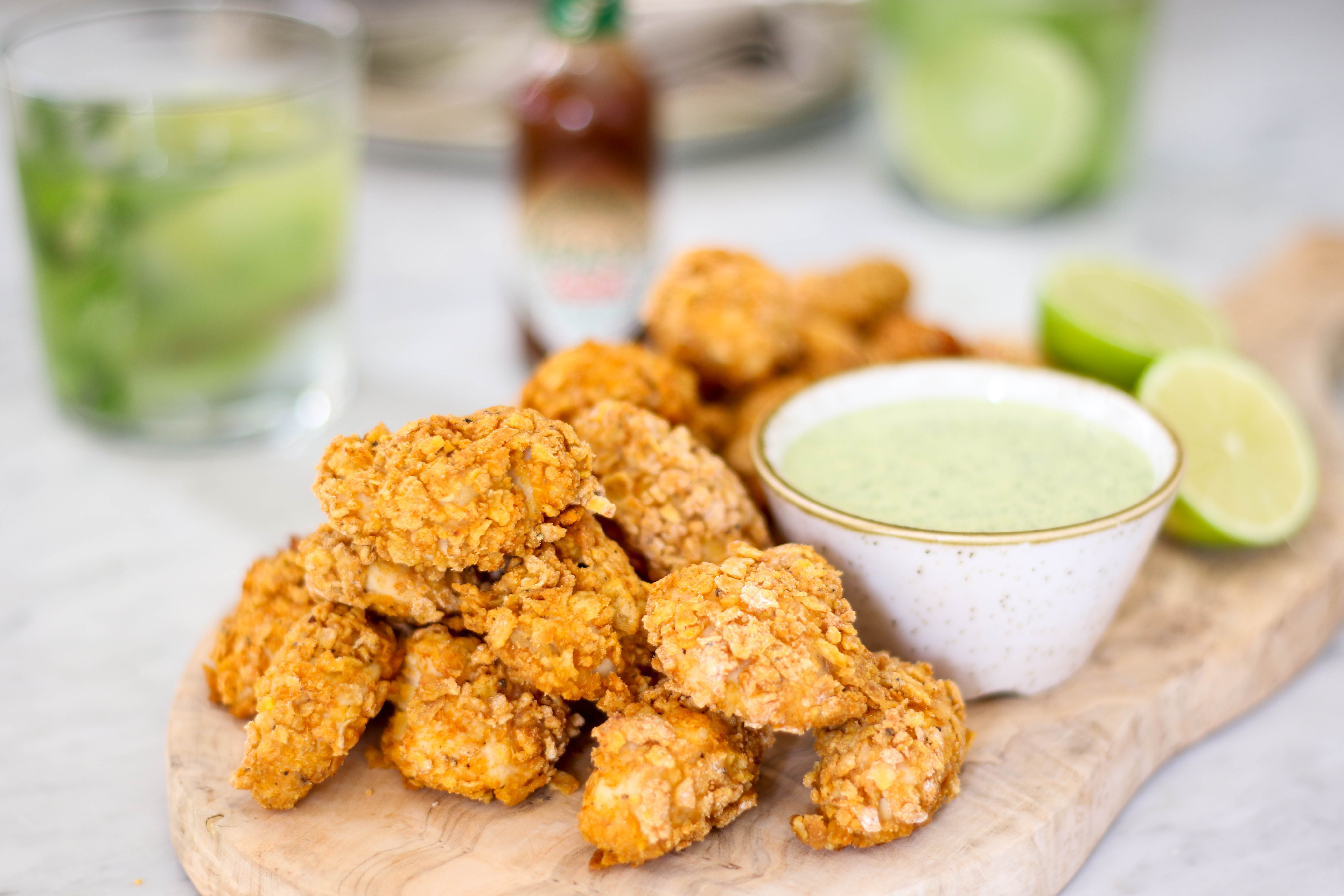 popcorn chicken with chipotle Tabasco & basil mayo | The ...